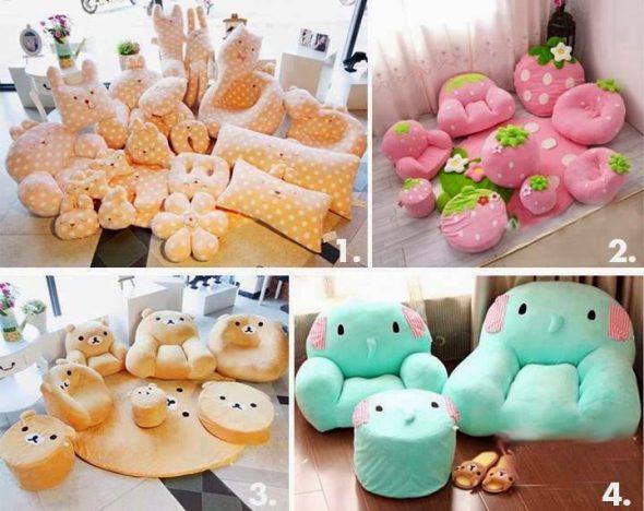 Разнообразные мягкие подушки ручной работы