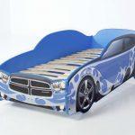 Синяя кровать-машина с каркасом для матраса