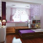 Спальня для девочки в фиолетовых тонах с выдвижной кроватью