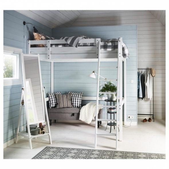 Спальня в стиле лофт с использованием кровати Стуро