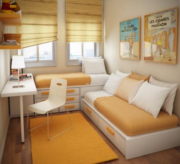 Уютная маленькая комната в бежевых тонах