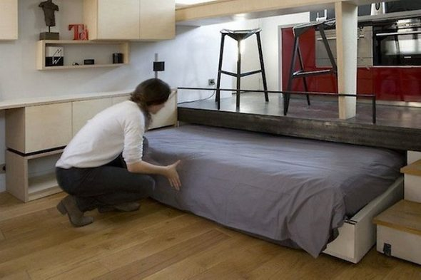 Встроенная кровать для кухни-гостиной