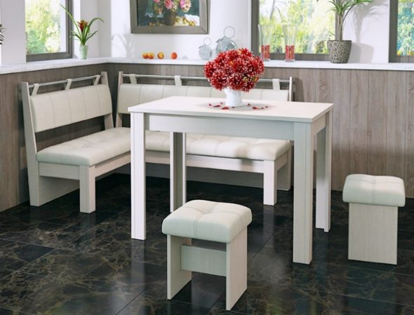 Белая кухонная мягкая мебель