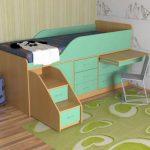 Бирюзовая кровать со шкафом и столом-полкой