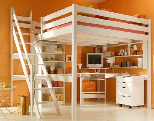 Деревянная кровать-чердак белого цвета