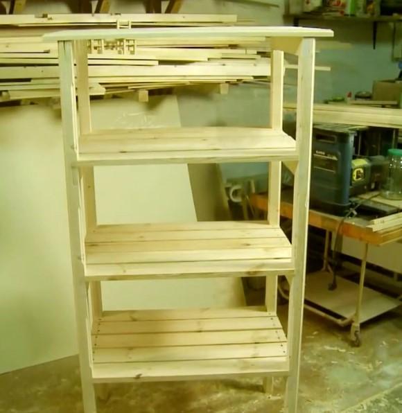 деревянный стеллаж готовый