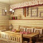 Деревянный уголок для столовой