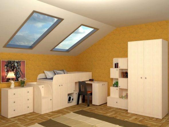 Детская мебель в спальню на мансарде