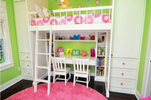 Белая детская кровать-чердак