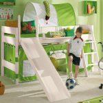 Детская кровать-чердак с горкой и наклонной лестницей из массива сосны