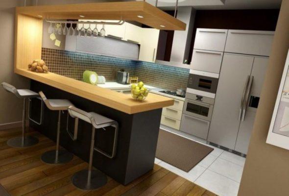 Дизайн небольшой кухни со стойкой