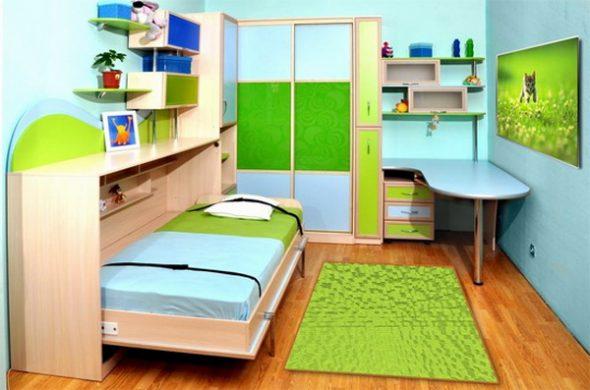 Дизайн яркой детской с откидной кроватью
