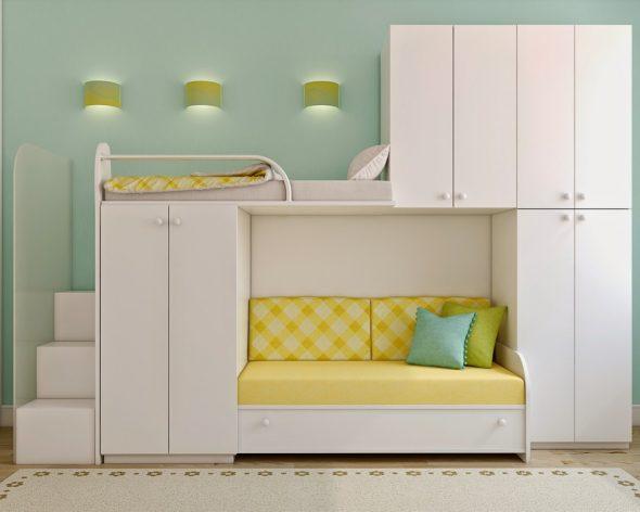 Кровать-чердак с диваном и встроенными шкафчиками