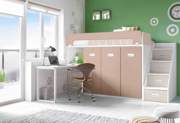 Интерьер детской комнаты с кроватью-чердак