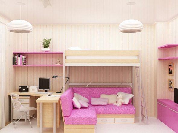 Интерьер комнаты для девочек с кроватью-чердак и угловым диванчиком