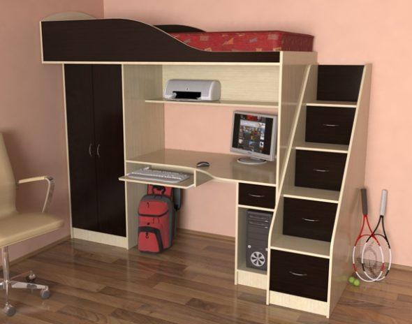 Интерьер комнаты подростка с кроватью-чердак