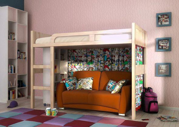 Интерьер современной спальни с кроватью-чердак и диваном-тахтой