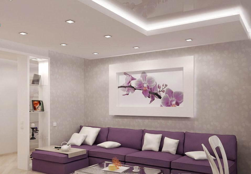 зал в фиолетовых тонах фото