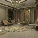 Интерьер в стиле барокко с мраморным полом