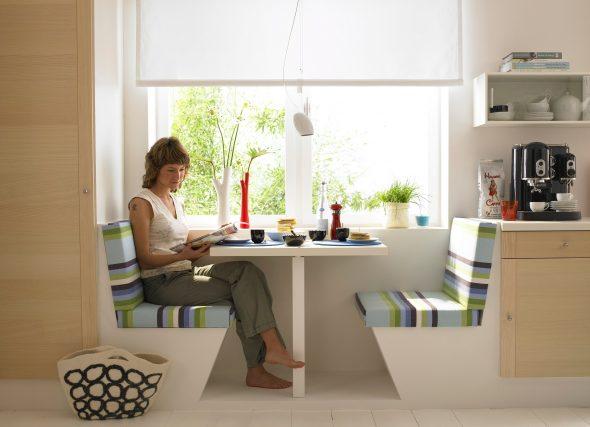 Интересное решение дизайна стола для маленькой кухни