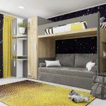 Комната для подростков с кроватью чердак и серым диваном
