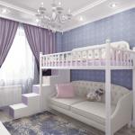 Красивая белая кровать-чердак