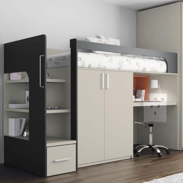 Кровать-чердак с рабочим местом и встроенным шкафом