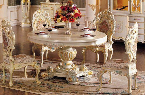 Красивая мебель в столовую в стиле барокко