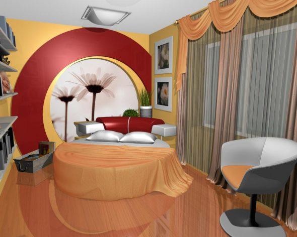 Красиво обыгранная круглая кровать в спальне