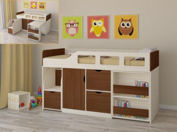 Кровать-чердак для детей от 3 лет Астра