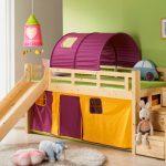 Кровать-чердак с горкой и лесенкой с ящиками