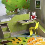 Кровать-чердак с рабочей зоной и горкой для дошкольника
