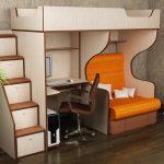 Кровать чердак с рабочей зоной и раскладным креслом
