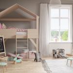 Кровать-домик в интерьере комнаты