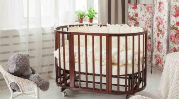 Круглая детская кроватка-трансформер