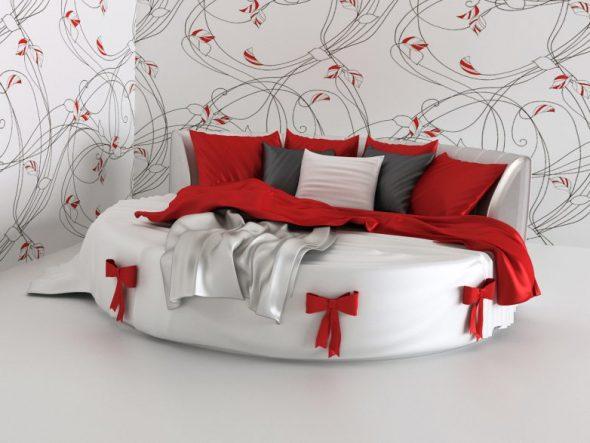 Круглый диван особенно красиво и органично смотрится в просторной комнате