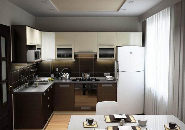 Маленькая угловая кухня в стиле хай-тек