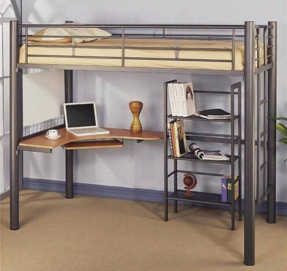 Металлическая кровать-чердак для подростков