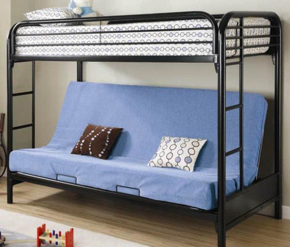 Металлическая кровать с диваном-книжкой