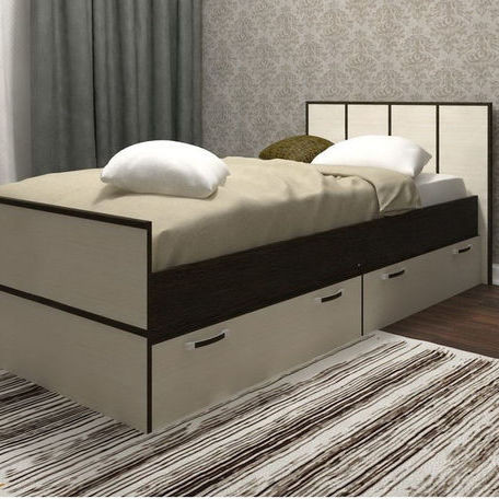 Необычная высокая кровать из ДСП