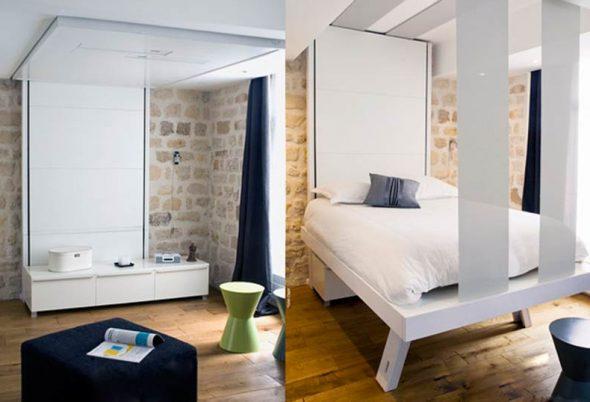 Подвесные кровати у потолка