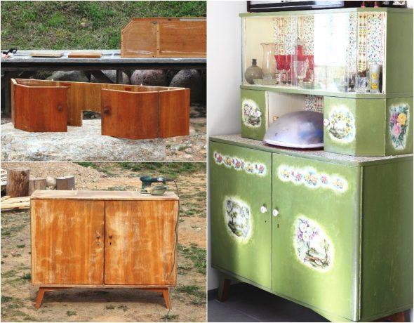 Реставрация и декорирование старого кухонного буфета советской эпохи