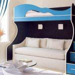 Синяя кровать и двухспальный диван