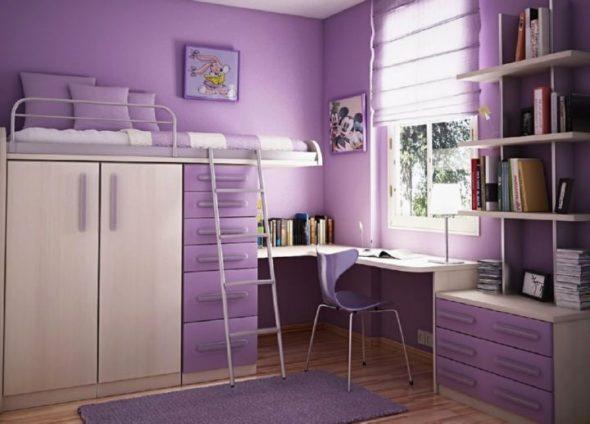 Сиреневая кровать-чердак с шкафом