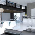 Стиль хай-тек в иттерьере кухни-столовой