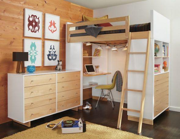 Стильная кровать-чердак для подростка