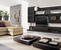 Темная мебель для гостиной
