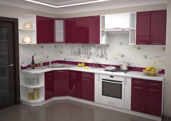 Угловая кухня со встроенным духовым шкафом в столе
