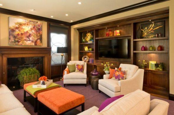 Уютная гостиная с мебелью цвета орех