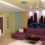 Желтый и лиловый цвет в интерьере гостиной-столовой